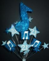 Music notes 21st birthday cake topper decoration in shades of blue - free postage